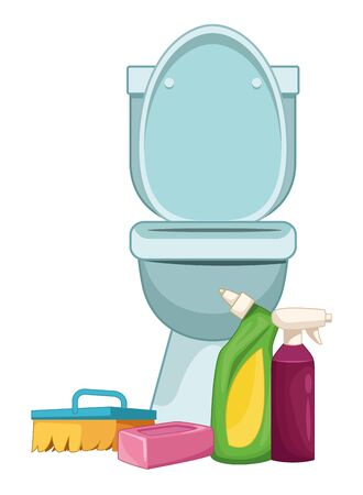 cleaning and hygiene equipment liquid soap, spray cleaner, scrum brush and soap bar next to a toilet vector illustration graphic design