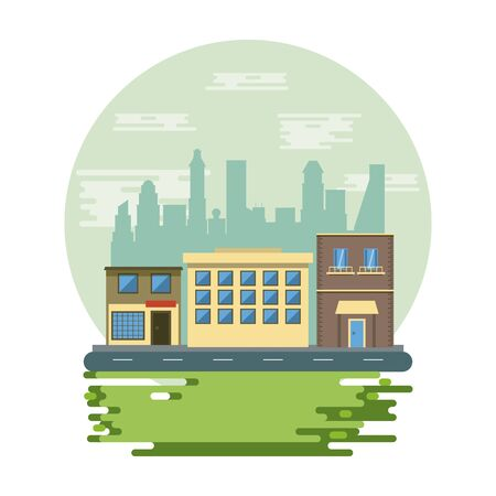 Urban buildings and park with cityscape scenery round icon vector illustration graphic design Ilustração