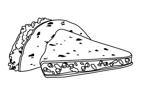 mexican food and tradicional culture with tacos icon cartoon in black and white vector illustration graphic design