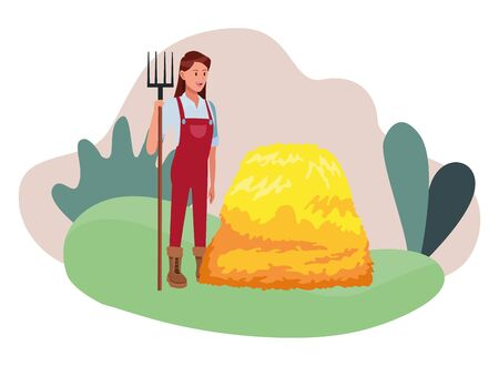 farm, animals and farmer woman with rake and hay avatar cartoon character over the grass with shruberry and plants vector illustration graphic design  イラスト・ベクター素材