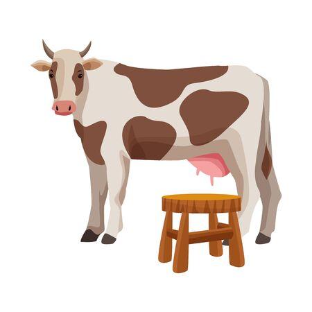 farm, animals and farmer cow and milkstool bench icon cartoon vector illustration graphic design