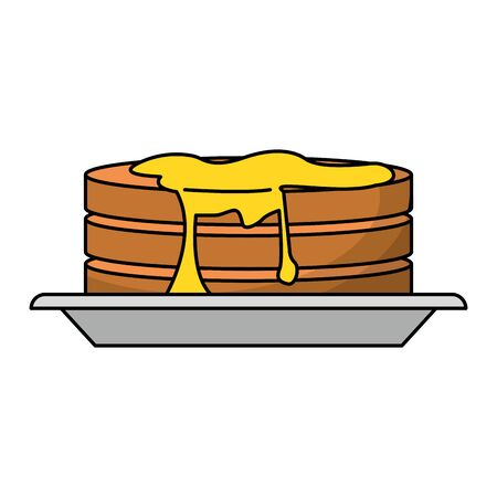 Pancakes with syrup on dish vector illustration graphic design