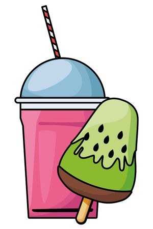 delicious ice cream icon cartoon and frozen ice shaved icon cartoon  vector illustration graphic design Archivio Fotografico - 130137264