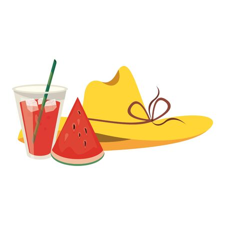Summer hat watermelon and juice cup cartoons vector illustration graphic design