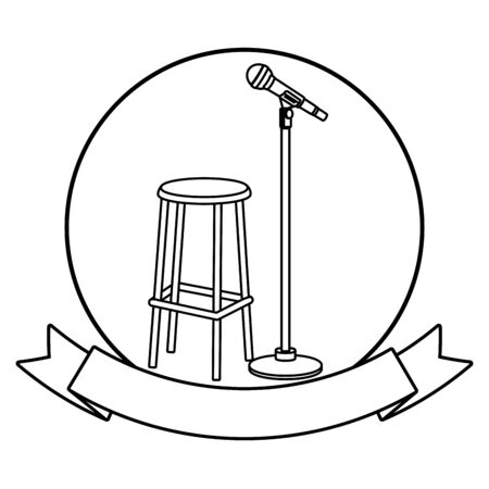 microphone and chair icon cartoon with ribbon round icon black and white vector illustration graphic design