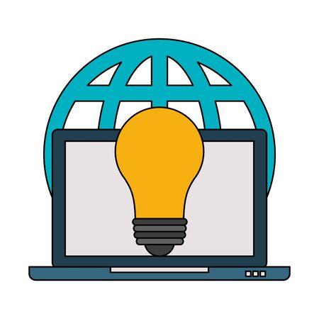 laptop mobile technology hardware web business idea cartoon vector illustration graphic design