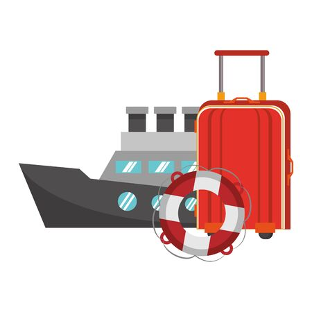 Summer luggage float and cruise ship cartoons vector illustration graphic design Ilustracja