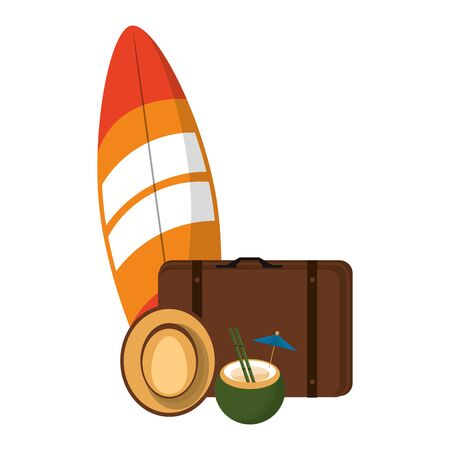 Summer and beach vacations surfboard suitcase and hat with coconut cocktail cartoons vector illustration graphic design