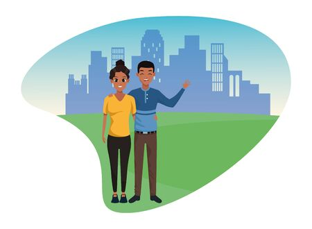Young man and woman couple smiling and greeting cartoon in the city urban scenery vector illustration graphic design.