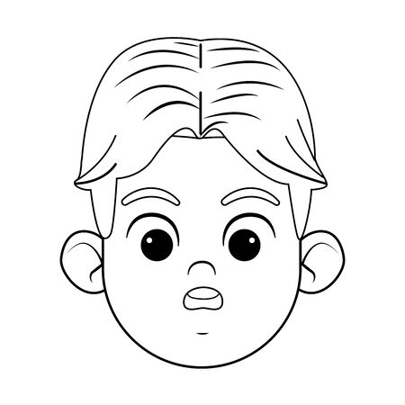 boy with green eyes with a surprised face avatar profile picture cartoon character portrait in black and white vector illustration graphic design