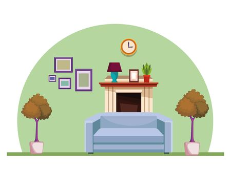 House chimney with sofa armchair furniture home building interior scenery ,vector illustration graphic design.