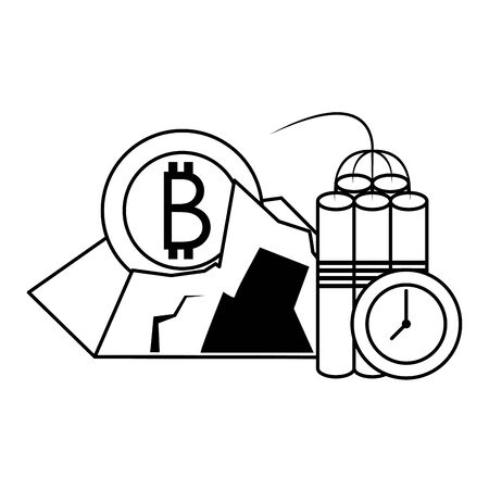 Bitcoin cryptocurrency mining tnt and coin in rocks vector illustration graphic design
