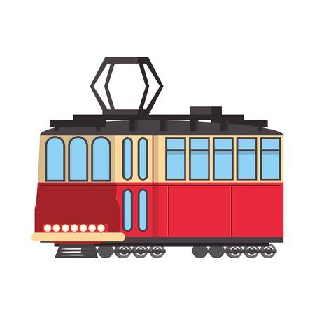 Tranvia public transport vehicle isolated vector illustration