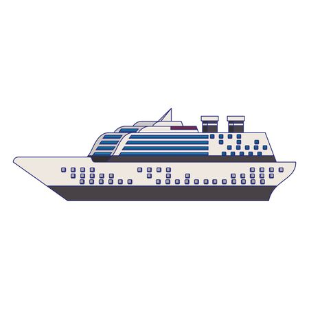 Cruise ship boat side view isolated