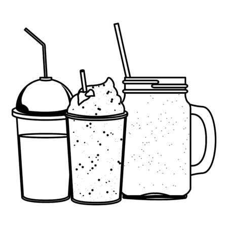 tropical smoothie drink icon cartoon in black and white vector illustration graphic design