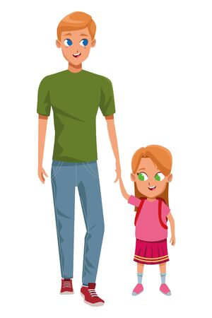 Family single father with children with school backpack cartoon isolated vector illustration graphic design