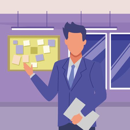 Executive businessman with clipboard avatar inside office building with corkboard and windows vector illustration graphic design. Illustration