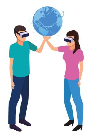 virtual reality technology, young couple living a modern digital experience with headset glasses touching world map cartoon vector illustration graphic design Illusztráció