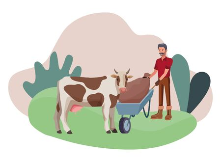farm, animals and farmer man with moustache pushing a wheelbarrow and sack and cow avatar cartoon character over the grass with shrubbery and plants vector illustration graphic design