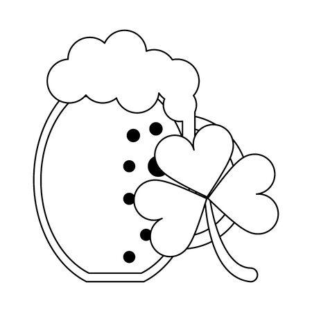 saint patricks day irish tradition clover with beer cartoon vector illustration graphic design Ilustrace