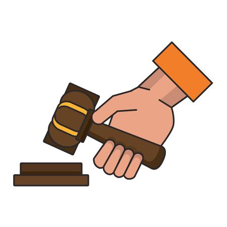 Justice hand with gavel cartoon isolated vector illustration Zdjęcie Seryjne - 129979334