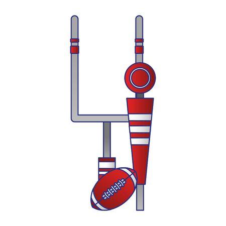 american football sport game goal post with ball and sideline cartoon vector illustration graphic design Illusztráció