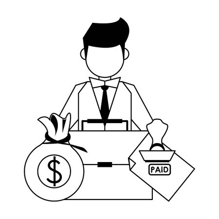 saving money business personal finance balance payment calculate elements with business man cartoon vector illustration graphic design Иллюстрация
