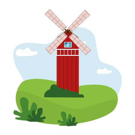 farm, animals and farmer windmill icon cartoon over the grass with bush and clouds vector illustration graphic design Çizim