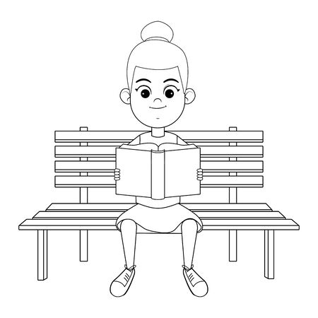 young girl sitting on a wooden bench reading a book avatar cartoon character in black and white vector illustration graphic design Illustration