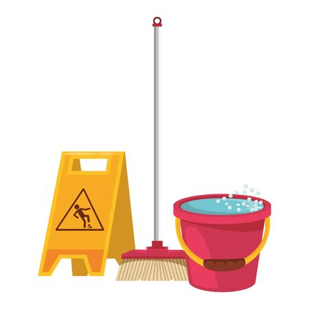 Cleaning equipment and products wet floor sign and broom with water bucket vector illustration graphic design. Иллюстрация
