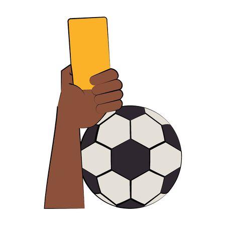 Soccer football sport game referee hand holding card and ball vector illustration graphic design Illusztráció