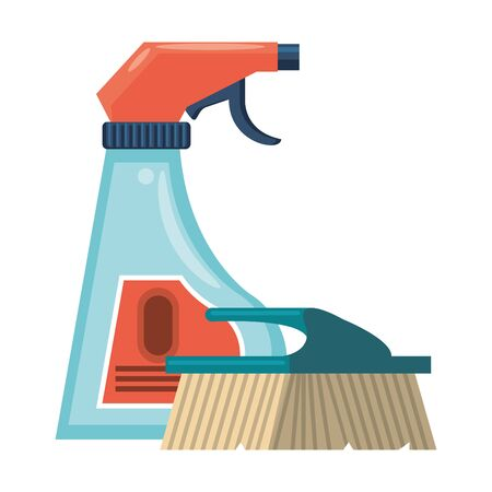 Cleaning equipment and products disifectant spray and brush vector illustration graphic design. Иллюстрация