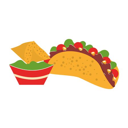 mexico culture and foods cartoons taco with plate on guacamole also nachos vector illustrationgraphic design