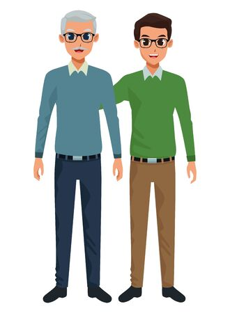 Family single father with adult son cartoon vector illustration graphic design vector illustration graphic design  イラスト・ベクター素材
