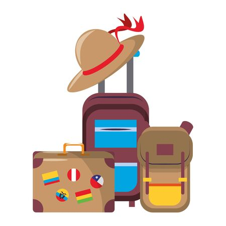 trip around the world symbols with suitcase backpack cabin bag and hat isolated symbols Vector design illustration Иллюстрация