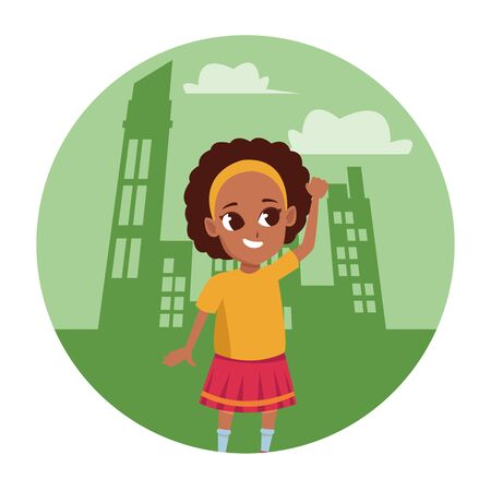 child afro girl having fun and playing in the city scenery round icon vector illustration graphic design Standard-Bild - 129980879