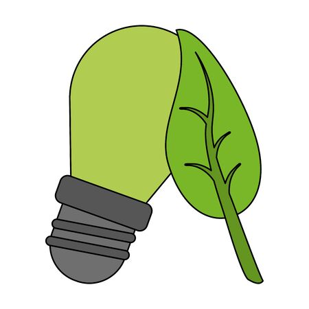 green energy ecology lightbulb cartoon vector illustration graphic design