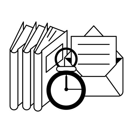 knowledge education concept elements cartoon vector illustration graphic design in black and white Иллюстрация