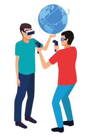 virtual reality technology, young men friends living a modern digital experience with headset glassesand joysticks cartoon vector illustration graphic design 写真素材 - 129981006