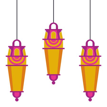 lanterns decoration festival golden and purple hanging lamps, arabic and oriental culture cartoon vector illustration graphic design