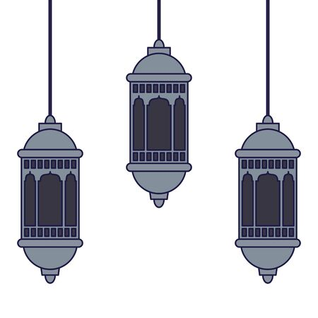 lanterns decoration festival hanging silver lamps, arabic and oriental culture cartoon vector illustration graphic design Ilustração