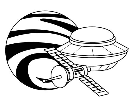 space exploration satellite, flying saucer and planet in black and white icon cartoon vector illustration graphic design