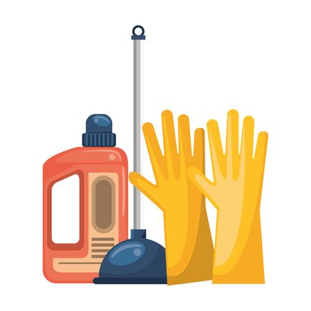 Cleaning equipment and products gloves with toilet pump and soap bottle vector illustration graphic design. Иллюстрация