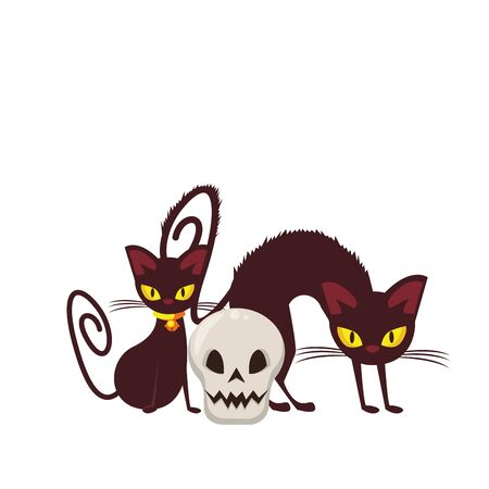 halloween october scary celebration, witch cats with skull cartoon vector illustration graphic design