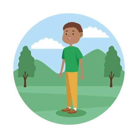 Young boy teenager in the park scenery cartoon vector illustration graphic design. Çizim