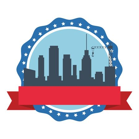 Cityscape building and construction crane silhouette stamp emblem with ribbon banner ,vector illustration graphic design.