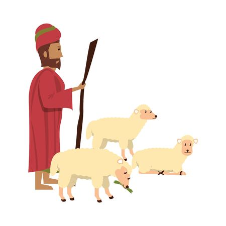merry christmas nativity christian manger catholic religion december biblical wise man scene cartoon vector illustration graphic design Vectores