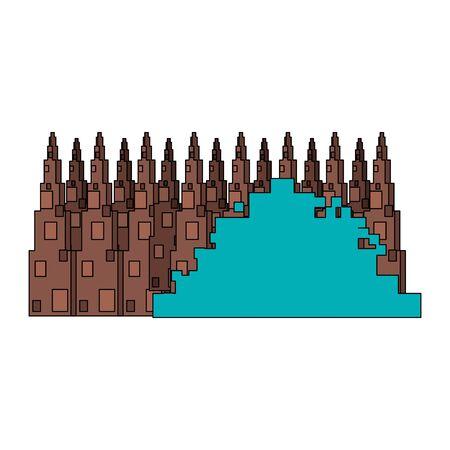 videogame pixelated retro art digital entertainment, bush with wooden fence cartoon vector illustration graphic design Иллюстрация