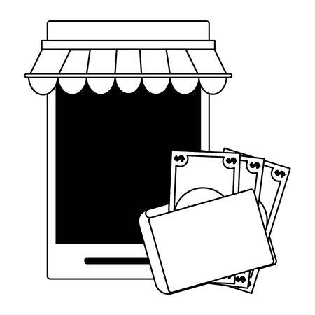 deliverycommerce online smartphone sales cartoon vector illustration graphic design