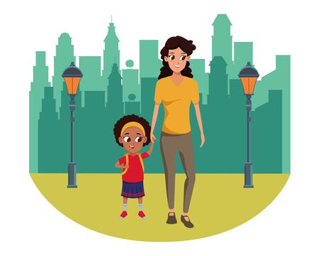 Family single mother with daugther holding school backpack in the city park scenery background vector illustration graphic design